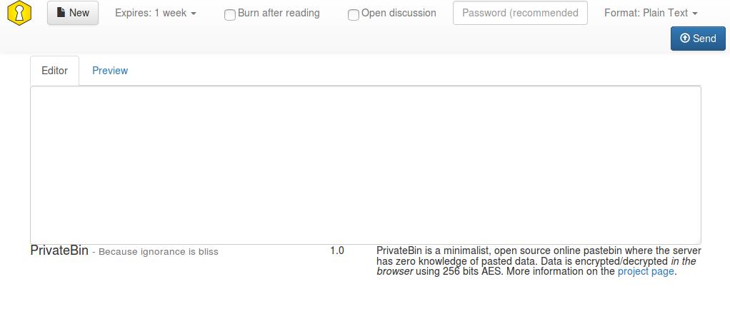Screenshot of the minimalistic PrivateBin front-end.