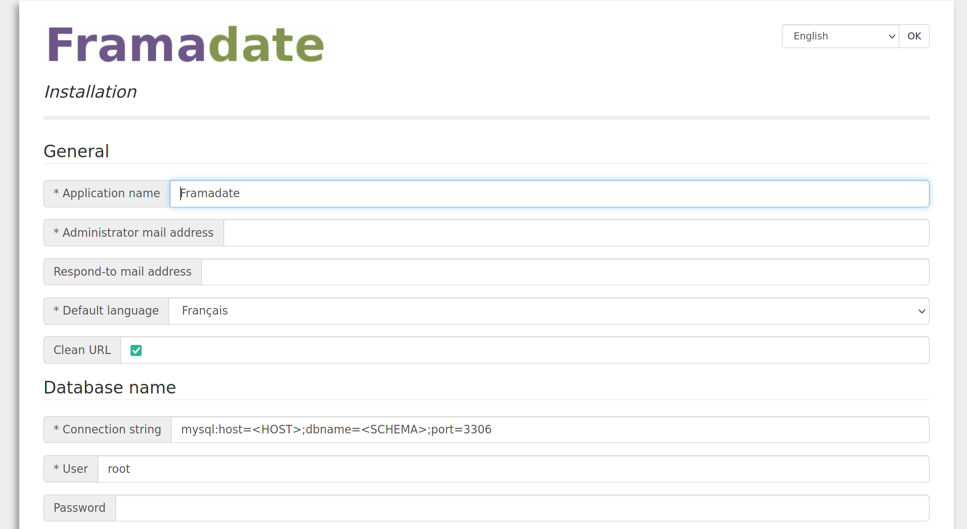 Screenshot of the Framadate installation process with many form fields to be filled in.