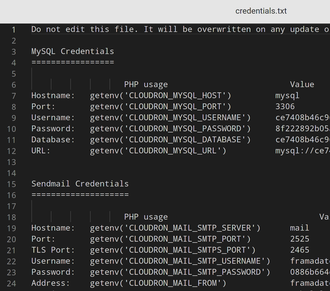 A screenshot of the credentials.txt in the file manager