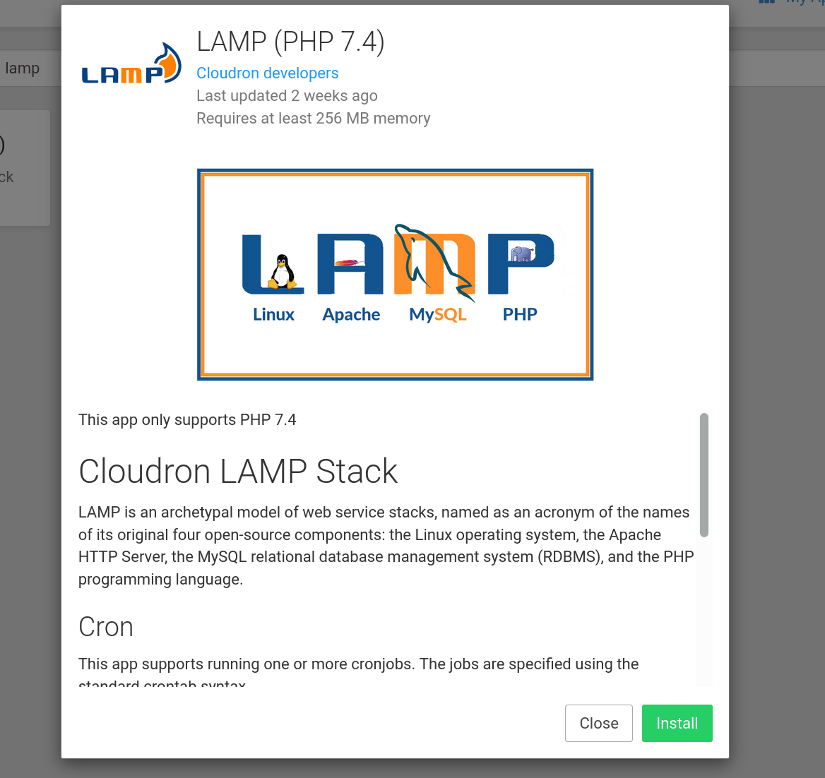 Screenshot of the LAMP app in the Cloudron app store