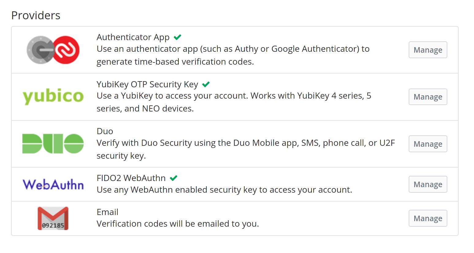the different 2FA options in vaultwarden - screenshot