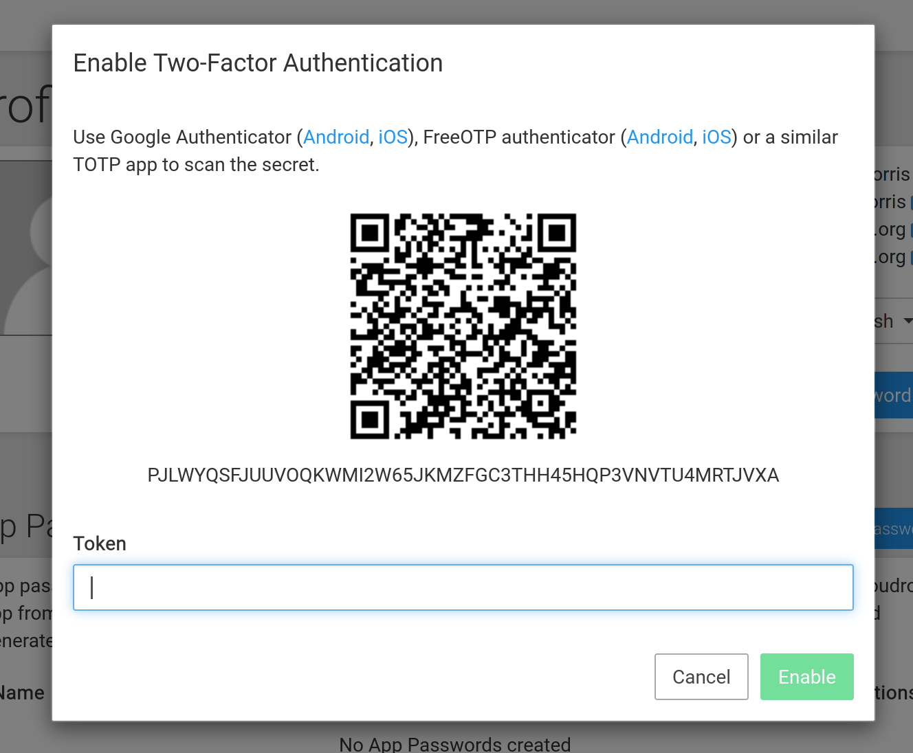 2fa settings in cloudron - screenshot